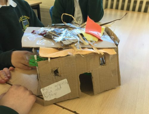 Finishing our Neolithic Houses.